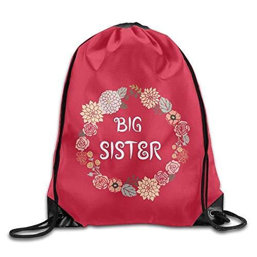 gthytjhv Big Sister Fashion Kordelzug Bag Backpack Sackpack for Shopping Sport Travel Lightweight Unique 16.9x14.2 (Währung Indische)