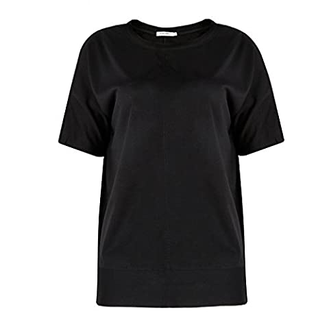 ICOCOPRO Womens Cold Shoulder Tops Short Sleeve Cutouts Blouse round neck loose Fit- Black Tshirt- XL