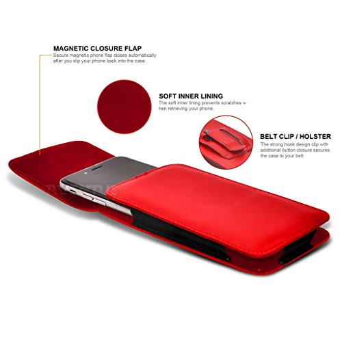 Aventus (Carbone Nero) Apple iPhone 6 Plus / iPhone 6s Plus Custodia Verticale da Cintura in Finta Pelle di Alta Qualità con Clip e Chiusura Magnetica Rosso