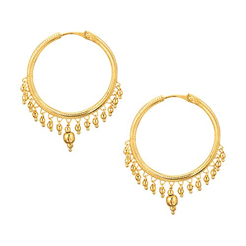 Shining Jewel 24K Tradditional Gold Brass Hoop Earrings for Women
