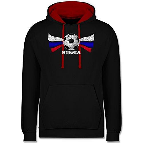 Fußball-WM 2018 - Russland - Russia Fußball Vintage - Kontrast Hoodie Schwarz/Rot