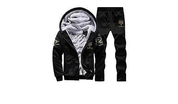 YKARITIANNA Mens Hoodie Winter Faux Fur Cozy Jogger Warm Fleece Zipper Sweater Jacket Outwear Coat Top Pants Sets