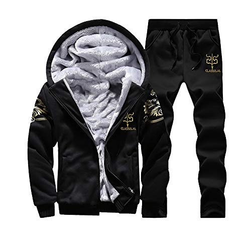 Felicove Herren Winter Hoodie Warm Fleece Reißverschluss Sweater Jacke Outwear Coat Top Hosen Sets Winterjacke Wintermantel -