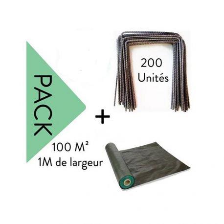 Lot Toile de paillage 100 m² - 1M Largeur + 200 Agrafes Metalliques - largeur : 0 m - Plantation