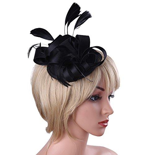 Tea Party Kostüm (YiZYiF Fascinator Haar Clip Haar Accessoire Tea Party Hochzeitskirche Kopfbedeckung für Frauen Schwarz One)
