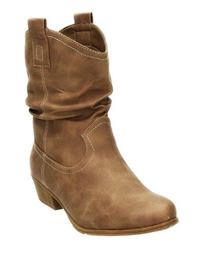 King Of Shoes Damen Stiefeletten Cowboy Western Stiefel Boots Schlupfstiefel Schuhe 36-2 (38, Khaki)