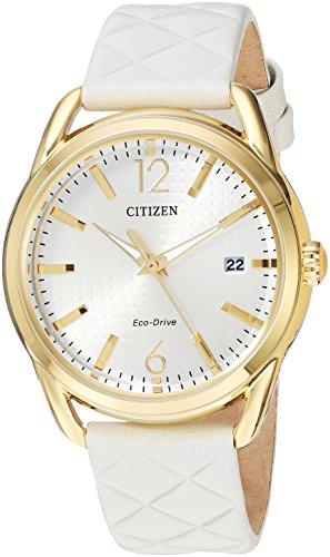Citizen LTR Orologio da polso da donna 36mm Bracciale in pelle bianco ad energia solare fe6082–08P