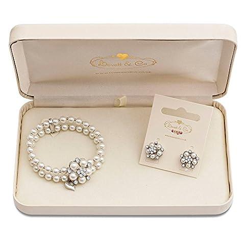 Audrey Hepburn Pearl Stud Earring & Audrey Hepburn Pearl Stretch Bracelet (Cream) with Gift Box