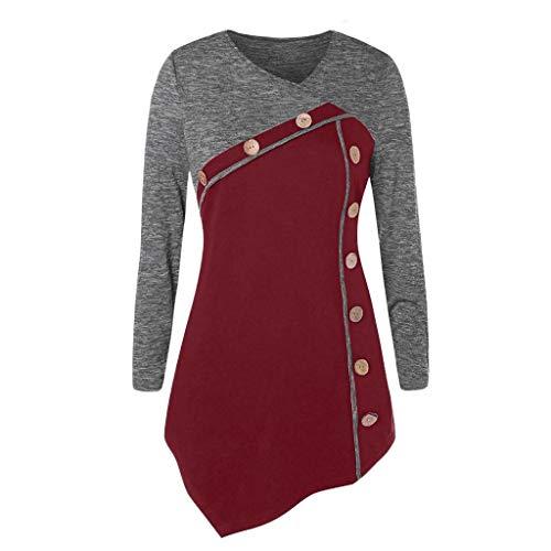 Geilisungren Bluse Damen Mode Farbblock Patchwork Langarmshirt Casual V-Ausschnitt Knöpfen Pullover Tops Frauen Herbst Frühling...