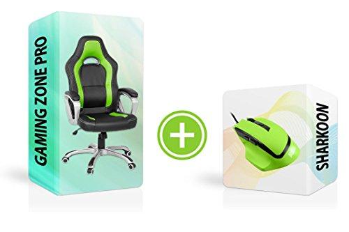 Zocker Bundle Sharkoon SHARK Force Gaming Maus + Racing Chair GAMING ZONE, professionelle Sechs-Tasten-Gaming-Maus ergonomisch designed mit gummierter Oberfläche, Wippmechanik. (grün schwarz) (Stühle Sechs)