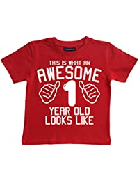 Edward Sinclair This What AN Awesome 1 Year Old Looks Like Red Boys T-Shirt In Size 1-2 Years With A White Print