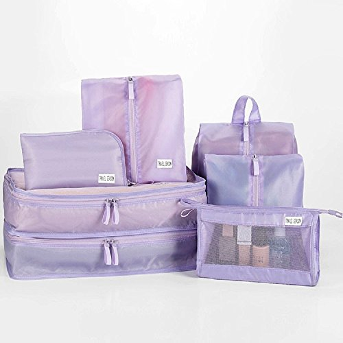 K&C 7 Set Verpackungswürfel mit Unterwäsche Tasche Kosmetik Tasche Elektronische Tasche Schuhbeutel Kompression Reisegepäck Organizer Rot Lila