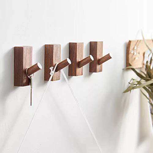 HomeDo Wandhaken, Hutständer, Kleiderhaken aus Holz, Wandmontage, dekorative Haken, einzelner Organizer für Hut, Handtuchhalter, strapazierfähige Haken Rectangle-Black Walnut-4pack
