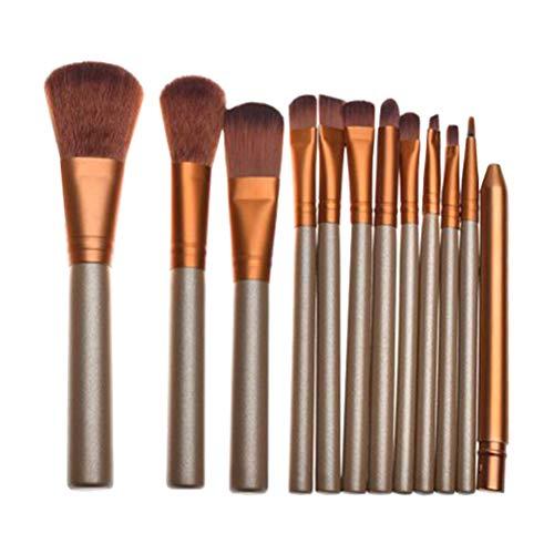 1 Set 12 Pcs Poignée En Bois Maquillage Doux Brosse Cosmétiques Poudre Blush Pinceau Kit pour Femme Dames