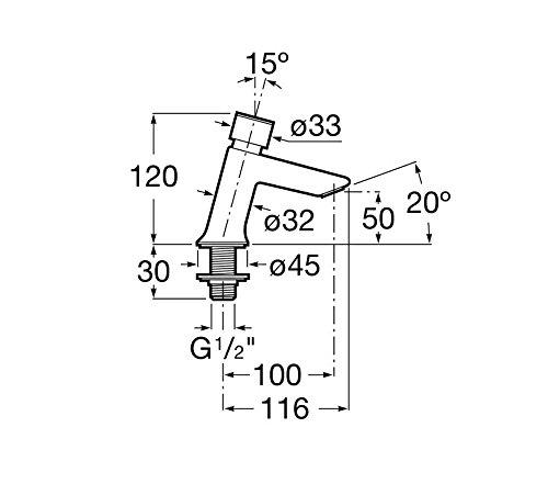 Roca A5A4277C00 – Grifo temporizado repisa lavabo con pulsador y limitador caudal, colección Instant, acabado cromado