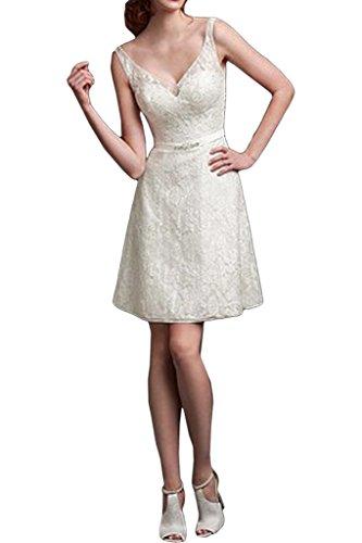 ivyd ressing robe fabuleuses encolure en V dentelle rueckenfrei Party Prom fête robe robe mariage Robe Robe du soir Ecru