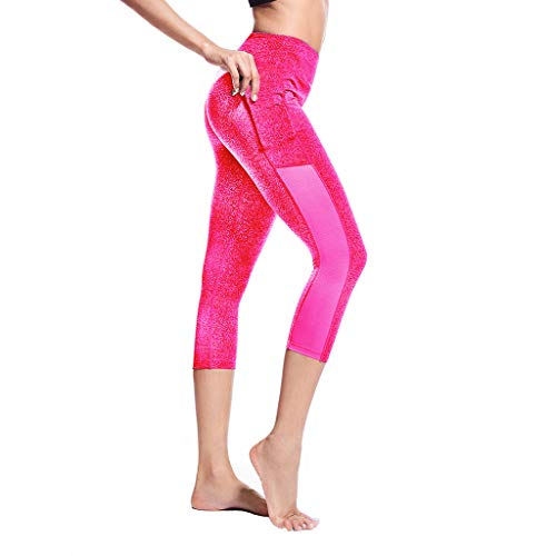 AIni Yoga Hosen Damen,Beiläufiges 2019 Seitentaschen-Nähte Enge Lauf-Stretch-Yogahose mit Sieben Punkten Trainingshose Yoga Leggings Sport Fitness Hosen(L,Pink)