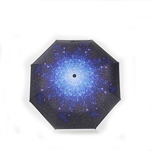 MTTLS Regenschirm Sternenhimmel Tri-Fold Easy Carry Regenschirm UV Schutz Frauen Falten Sonnenschirm , alien space black - Lace Sonnenschirm Black