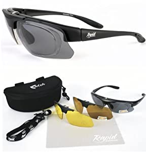 Catch Pro POLARISED PRESCRIPTION RX FISHING SUNGLASSES with Interchangeable Polarized Anti Glare and Low Light Lenses. UVA / UVB (UV400) Protection. For Men & Women. Black Frame