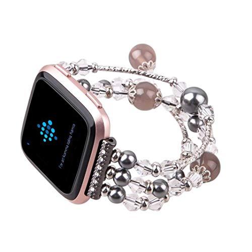 t Versa Schmuck Armband mit Achat Strap Mode Elastische Stretch Ersatz Armbanduhr Armband Gürtel Uhrenarmbänder Bandlänge ca.150mm für Damen Frauen Rosa (Schwarz) ()