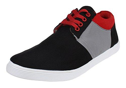 lacets casual toile sneaker glissement des hommes sur la conduite pantoufle chaussures Noir