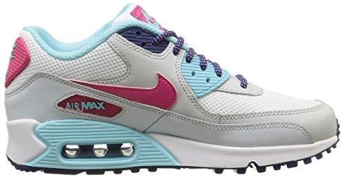 Nike Air Max 90 Mesh (Gs) Herren Sport & Outdoorschuhe mehrfarbig (White/Vivid Pink-Copa-Pure Platinum)