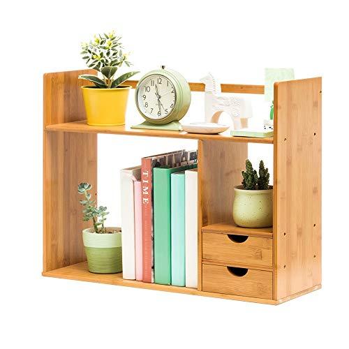 LERDBT Bücherregal Display Storage Shelf Raum für Office Home Modern 2 Layer Desktop Storage Doppel Schublade Bücherregal Bücherregal Bücherregal Storage Shelving Unit Display Regale a -
