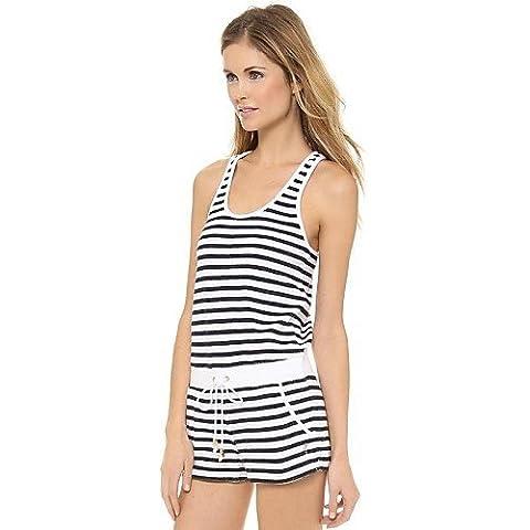 ZY a strisce in bianco e nero senza maniche pagliaccetto tutina delle donne , black-2xl , black-2xl