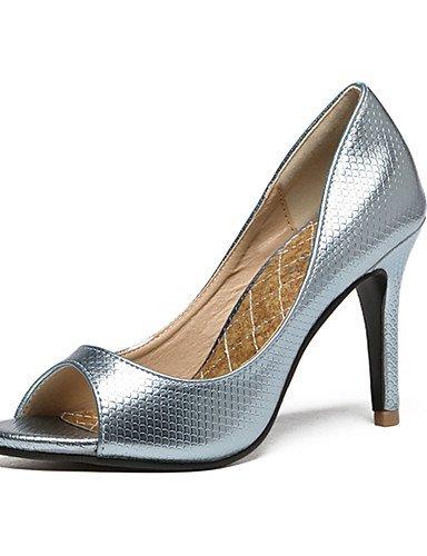 GS~LY Damen-High Heels-Kleid / Party & Festivität-Kunstleder-Stöckelabsatz-Absätze / Zehenfrei / Plateau-Schwarz / Blau / Rosa / Silber blue-us5.5 / eu36 / uk3.5 / cn35
