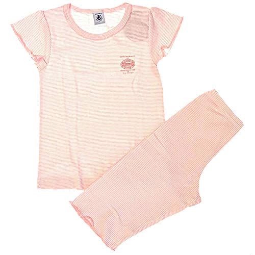 Petit Bateau kurzer Pyjama - Schlafanzug 62861 - Shorty - rosa-weiß gestreift - Ringel - Gr. 6 A - 116 (Pyjamas Mädchen Urlaub)