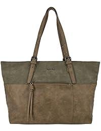 David Jones - Grand sac à main cabas imitation cuir souple nubuck et anses réglables - Sac femme - Sac shopping - Sac de cours - Sac étudiante lycée - Sac tote fourre tout