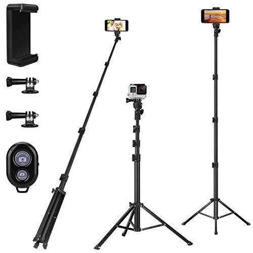 PEYOU Handy stativ, Bluetooth Selfie Stick stativ, 135cm/ 54'' Erweiterte Größe, 360 Grad Rotation, Drahtlose Bluetooth-Fernbedienung für iPhone X XS XR 8 7 6s Huawei Samsung Gopro, Schwarz