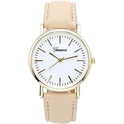 JSDDE Uhren,Eelgant Genf Damenmode Armbanduhr Faux Leder Lederarmband Damenuhr Gold Skala Analog Qaurzuhr,Beige