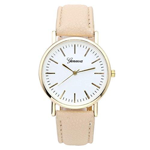 JSDDE, Geneva, orologio da polso, elegante orologio da polso da donna, cinturino in pelle, orologio da polso da donna, oro, orologio analogico al quarzo, beige