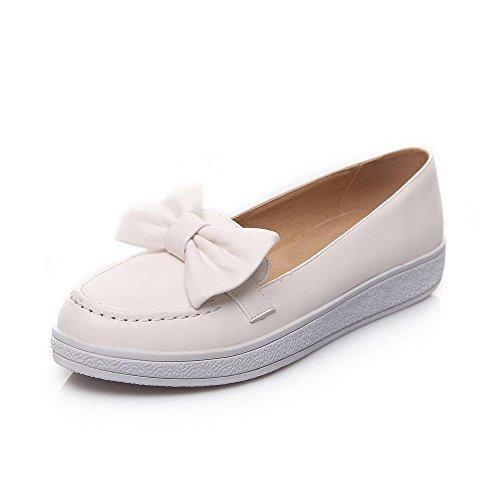 AgooLar Damen Niedriger Absatz Ziehen Auf Rund Schließen Zehe Pumps Schuhe Weiß