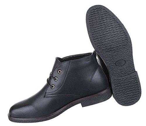 Herren Boots Schuhe Schnürer Stiefeletten Used Optik Schwarz Camel Beige 40 41 42 43 44 45 Schwarz