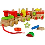 yoptote Trenino Legno Giochi Montessori Giocattoli per Bambini 2 Anni Giochi in Legno per Bambini 1 2 3 Anni