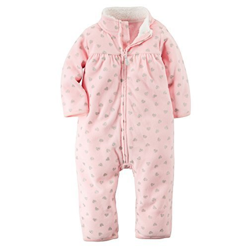 Carters Jumpsuit (Carters Baby Girls Zip-Up Glitter Print Jumpsuit Pink Hearts 12M by Carter's)