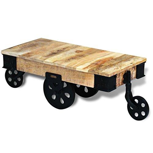 vidaXL Table Basse Roues de Salon Bois de manguier Brut Meuble de Rangement