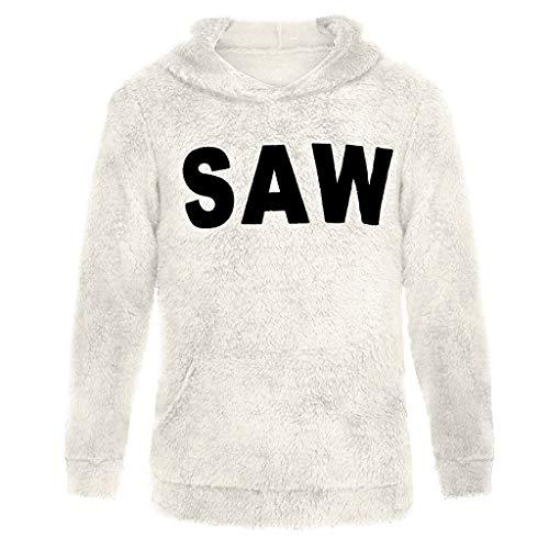 MISSQQUomo Scamosciato per Felpe con Cappuccio da Uomo Sweatshirt Hoodie da Uomo Maniche Lunghe Caldo Casual Pullover Sweater Lettera Stampat