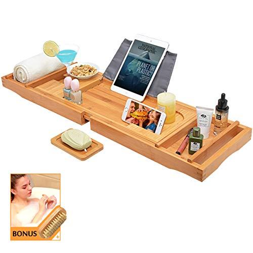 Badewannenbrett Badewannenablage Badewannentisch badewannenauflage ausziehbar - aus Bambus mit kostloser Nagelbürste