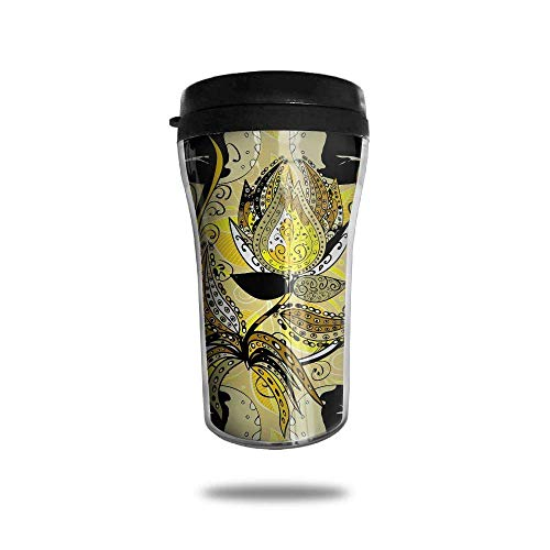 QIUJUAN Black Butterfly with Floral Pattern Ice Coffee Small Coffee Cup Carrying Hand Cup Reusable Plastic Curve Travel Cup Coffee Cup Asymmetric Men Children Teen Adult - Teen Kitty Hello
