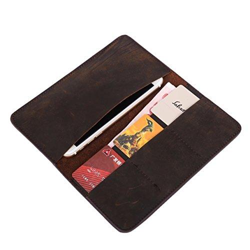 20,1cm Herren Echtes Leder Smartphone Tasche Holster Universal Vintage CLIP Tragbare Wallet Schutzhülle aus Leder für Handy pd08 (Leder Öl Echt Gegerbtes)