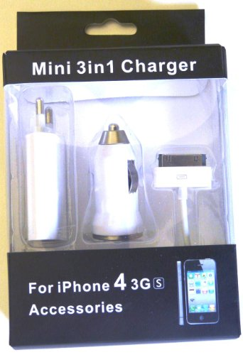 Vevendo Set 3 in 1 Zubehör für I Phone & I POD: 1 x USB Netzteil Ladegerät / 1 x KFZ Ladekabel / 1 x USB Datenkabel -