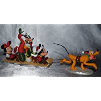 5 Ornament Set: Merry Mittens Minnie, Downhill Dashin Mickey, Cool Duck Donald, Snow Stylin' Goofy & Sled Pulling Pluto by Disney's Ready! Set! Snow! Collection