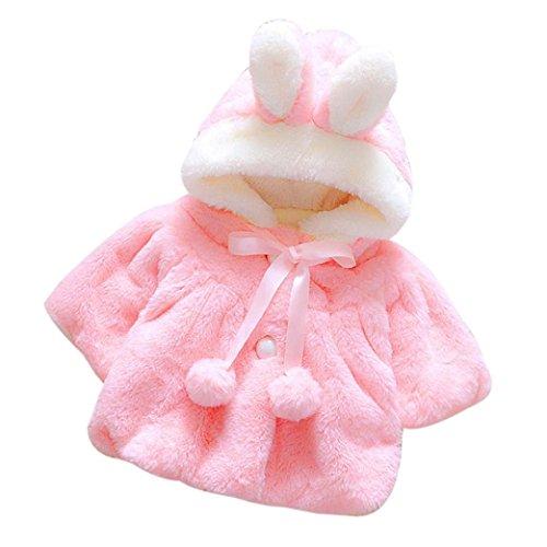 Giacca del mantello del cappotto di inverno Rawdah della pelliccia della neonata vestiti caldi spessi Baby Girl Warm Coat (0/9 Mesi, rosa scuro)