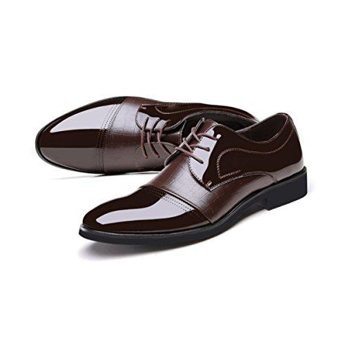 Lyzgf Chaussures En Cuir Pour Les Hommes Avec Pointu Toe Brown