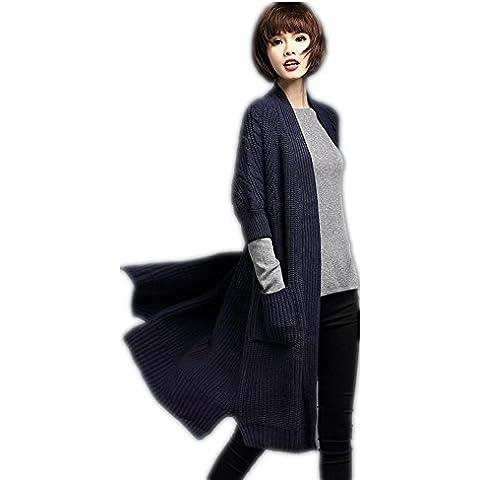 Las mujeres en las lanas del espesamiento largo abrigo de punto a prueba de viento chaqueta de punto , navy