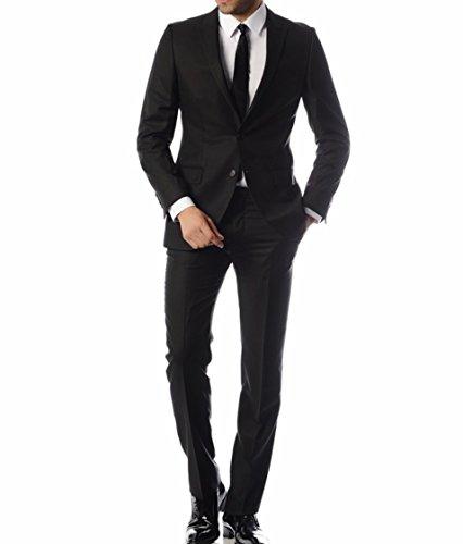 Keskin Collection Herren Anzug Schwarz Model EROL , verfügbare Größen 43 – 60 (60, (Anzug Schwarzer)