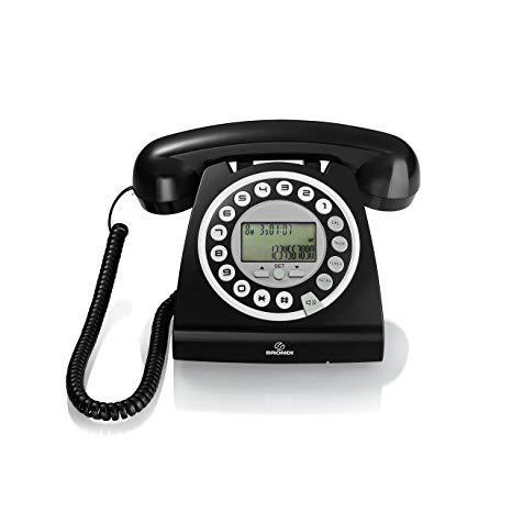 Brondi Hallo Telefono Fisso Nero Design Vintage, Display Caller ID, Vivavoce